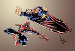 Superman And Spiderman Colored 2016 by azzh316