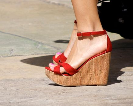 Red Strappy Platforms by Feetatjoes