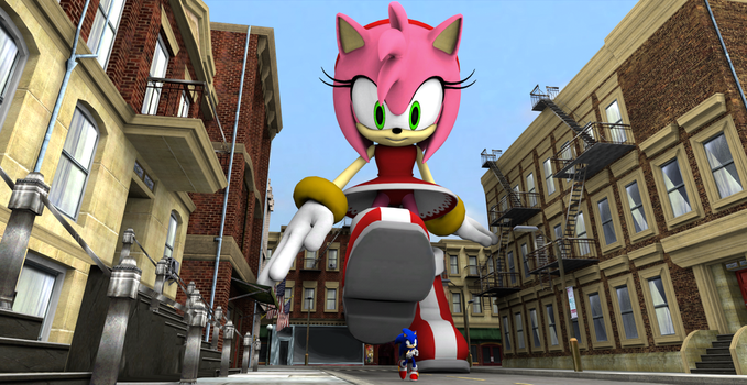 Giantess Amy Chasing Sonic by gts69