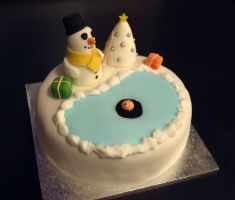 Snowman Ice Fishing Cake by sparks1992