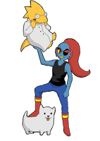 Undyne lifts a girlfriend by SamCyberCat