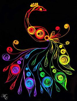 Chakra Rainbow Paper Quilling Peacock by Mystik-Elements