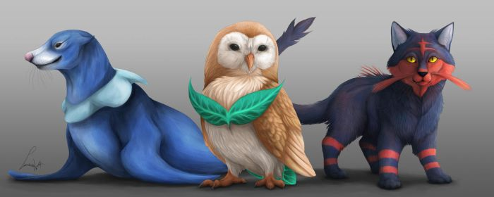 Pokemon Sun and Moon Starters by LabradoriteWolf