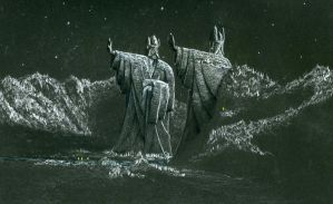 Night and the Argonath by EthalenSkye