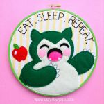 Snorlax Embroidery Hoop by iggystarpup