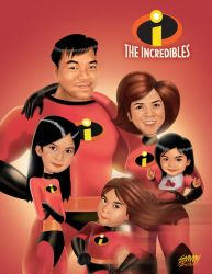 Commision art for a family. The Incredibles theme. by 3demman