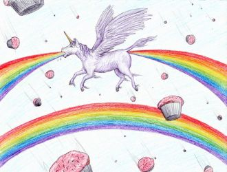 Unicorn Vomiting a Rainbow by TheIckyMan