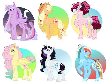 Mane 6 Redesign by Melon0Monster
