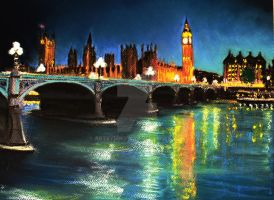 Thames Night Soft Pastel by artbymikew