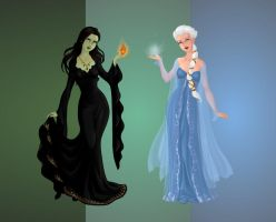 Elphaba and Elsa (2) by DarthCrotalus