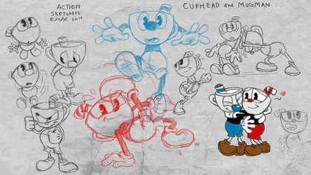 Cuphead And Mugman ACTION SKETCHES DOODLES by fnafmangl
