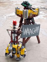 Ork Boss and Waagh! Tower by Scharnvirk
