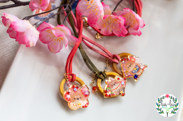 Year of the Dog Necklaces: Flower, Fan, Diamond by taeliac