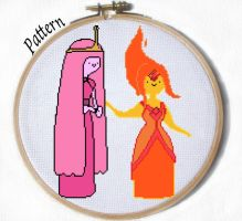 Princess Bubblegum and Flame Princess Cross stitch by JuliefooDesigns