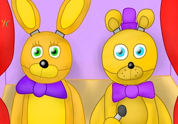 Fredbear Family Diner: Fredbear and Spring Bonnie by YasminCarvanha