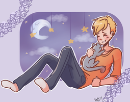 Alphonse and a cat by NyanWulf02