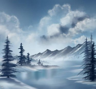 Bob Ross Inspired -blue winter by Amarbiter