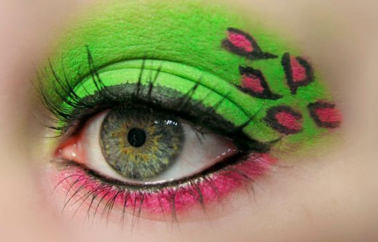 Green and pink leopard Makeup by KatherineDavis