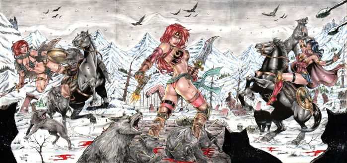 Red Sonja,Red Monika and Wonder Woman by Medsonlima