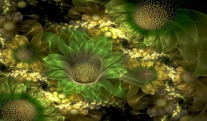 Green sunflowers. by Kondratij