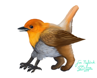 Robin-ish Gryphlet Gift for Nybird by corvus-draconis