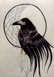 Dreamcatcher crow by Wol4ica