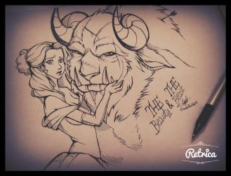 Sketch-The beauty and the beast by AlaishaTheWolf