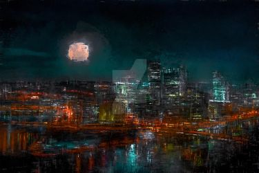 Pittsburgh At Night by LC-Bailey-Art