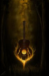 Flaming Guitar by ehaft
