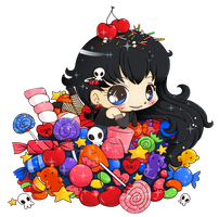Chibi in Pile of Sweets: Commission by YamPuff