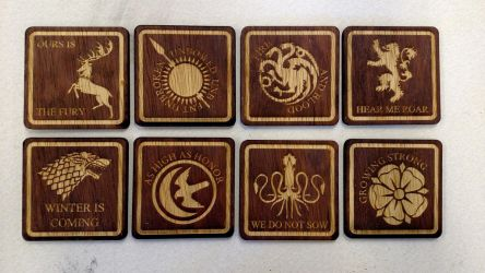 Game of Thrones coasters - all houses by RaptorAttacks
