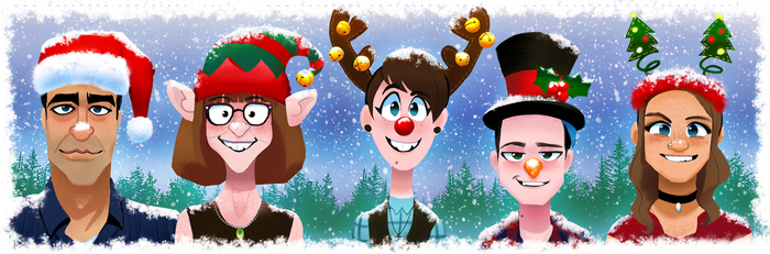 Caricatures of my Fam: Christmas Edition! by Pheoniic