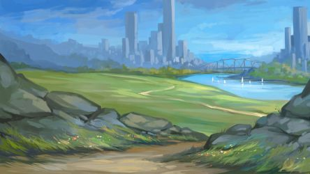 Landscape with the river and the city. by Grafikwork