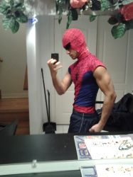 My Spidey Costume pose4 by clyde0o0o