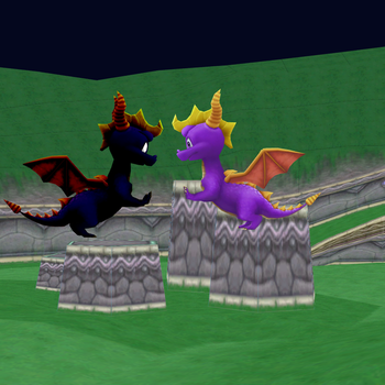Spyro vs his dark self (classic style) by SuperSmashCynderLum