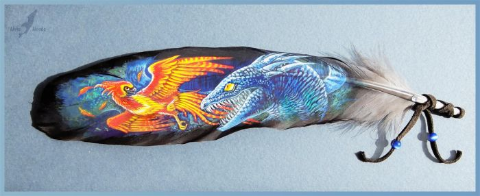 Fawkes fighting basilisk - feather painting by AlviaAlcedo