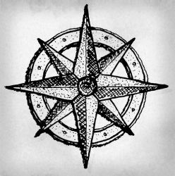 Hand-drawn authentic wind rose by anmcarrow