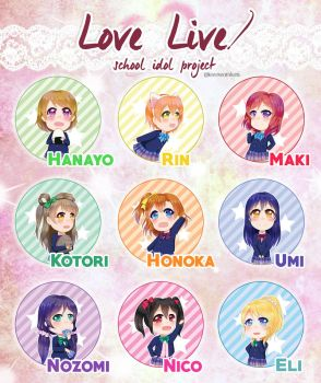 Love Live! Button Set by IceCreamKari