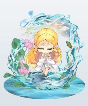 Zelda Breath of the wild chibi prayer by chocobikies