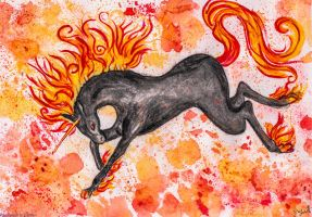 Prancing fire unicorn  by ElenaZambelli
