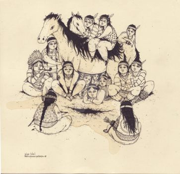 coffee drawing - indians by macen