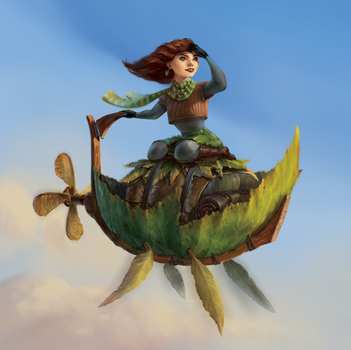 Autumn Girl Flying a Leaf by IndianRose