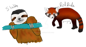 Sloth And Red Panda by nightrelic