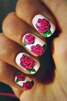 rose nails by N2nnnu