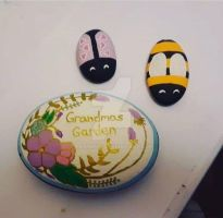 Grandmas Garden - painted rocks by Batnamz