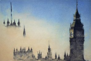 Big Ben Palace of Westminster in the fog A6 SIZE by YuGo1991