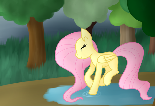 Fluttershy Playing In A Puddle by azurequillarts