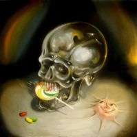 The toothless crystal skull contemplates decay by sgibb