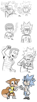 Rick and Morty Doodles by Skeleion