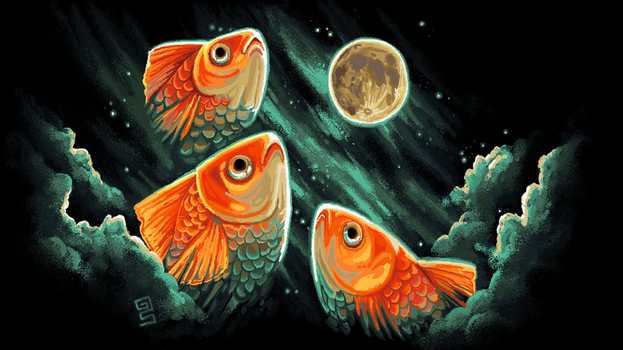 3 golfish moon print by griffsnuff